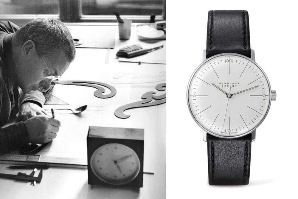 Max Bill a trabalhar no seu atelier em 1959 e relógio Junghans Max Bill 1961 | © Junghans