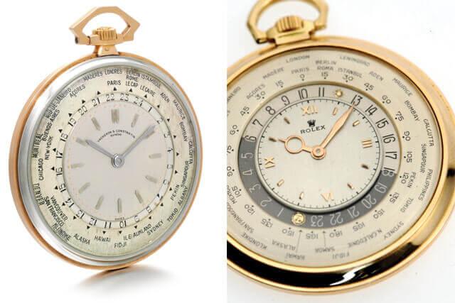 Vacheron Constantin Ref. 3372 . Caixa em ouro branco e ouro rosa. O mecanismo do relógio foi feito por Louis Cottier, 1933. © Sotheby's Rolex Ref. 4262 . Relógio de bolso Rolex em ouro rosa 18kt, com indicação de horas mundiais. Esta peça utiliza a patente World Time de Louis Cottier, 1947. © Christie's