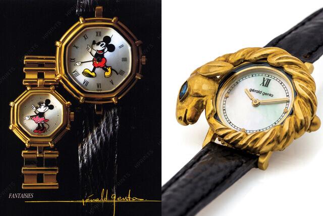 Os modelos 'Disney' e um relógio de inspiração mais barroca com a marca Gerald Genta © DR