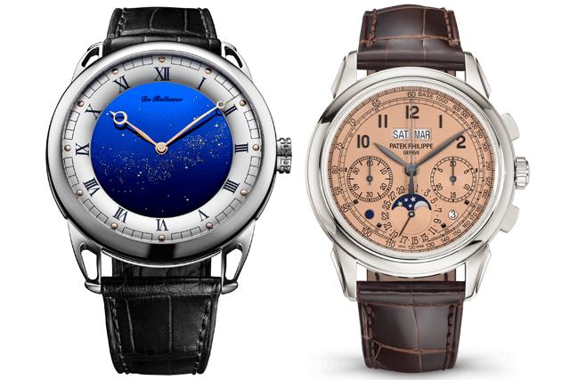 À esquerda: Azul de sonho: o De Bethune DB25 Starry Varius Chronomètre Tourbillon © De Bethune   À direita: Patek Philippe 5270P_001 © Patek Philippe