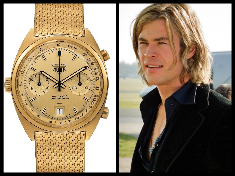 O Carrera em ouro que foi parar ao pulso de James Hunt (Chris Hemsworth), em ver de ter sido usado por Niki Lauda © DR