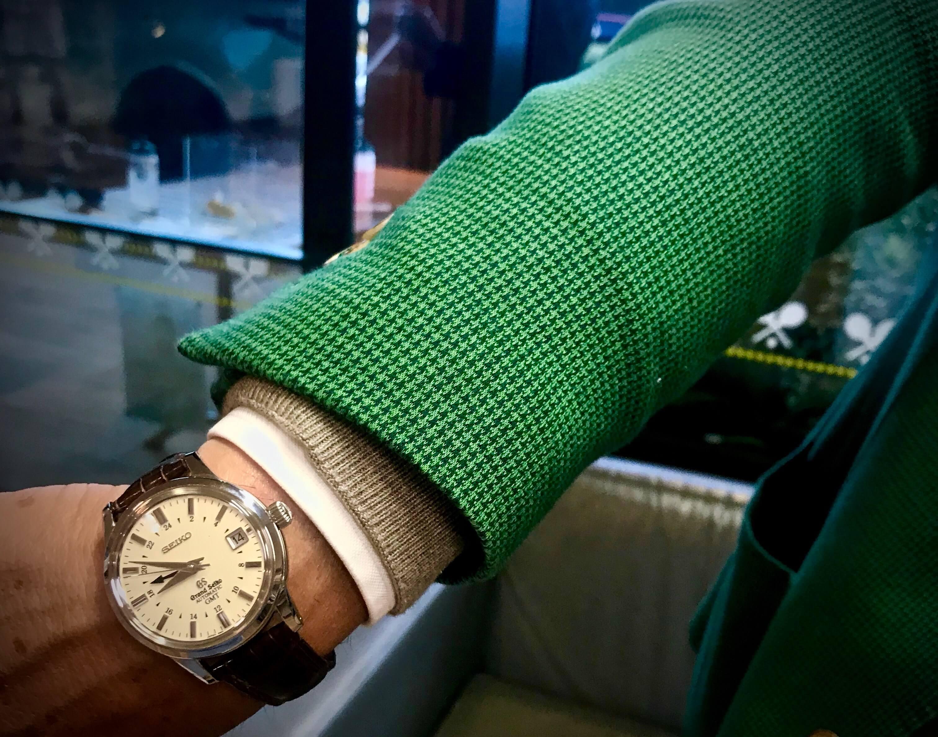 O Grand seiko GMT com mostrador bege de Edoardo Artaldi, o manager de Novak Djokovic © Miguel Seabra/Espiral do Tempo