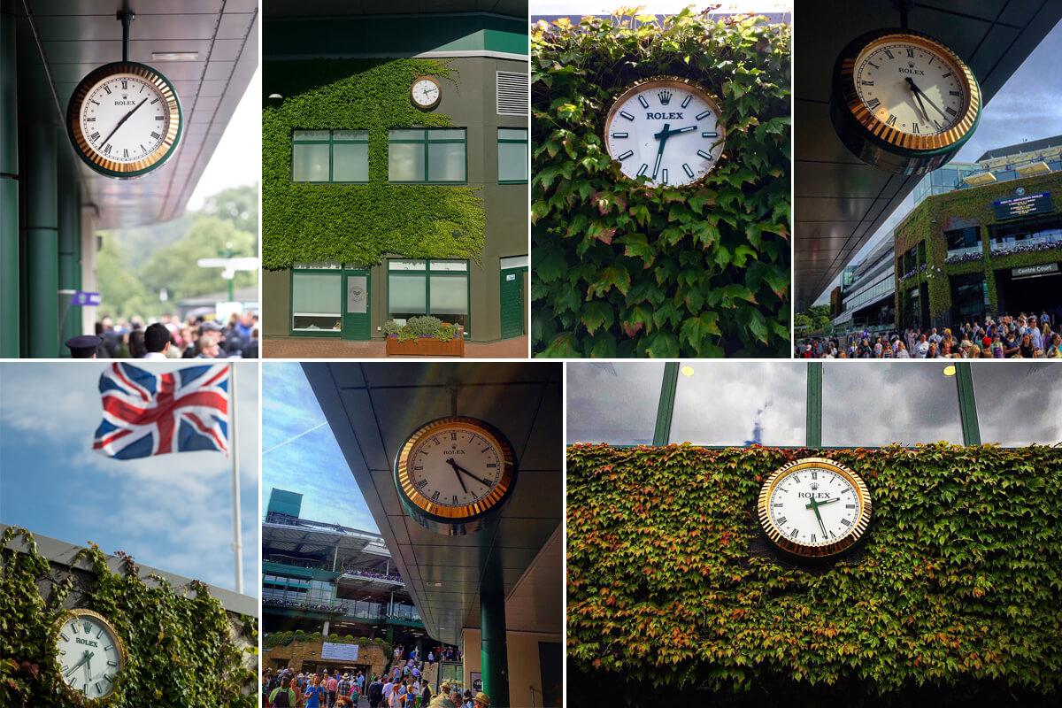 Alguns dos relógios Rolex colocados em vários pontos do All England Lawn Tennis and Croquet Club © Miguel Seabra e Rolex