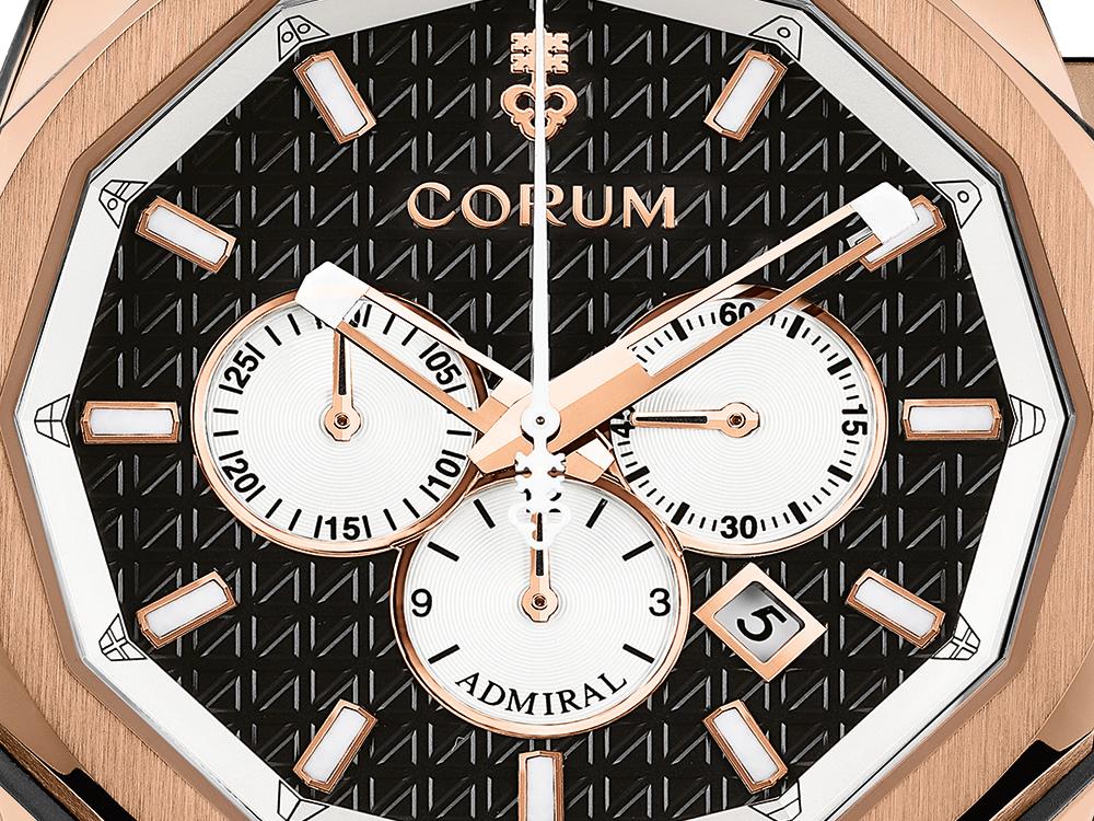 Corum Admiral AC-One 45 Chronograph. Mostrador preto e caixa em ouro rosa 15kt 5N. © Corum