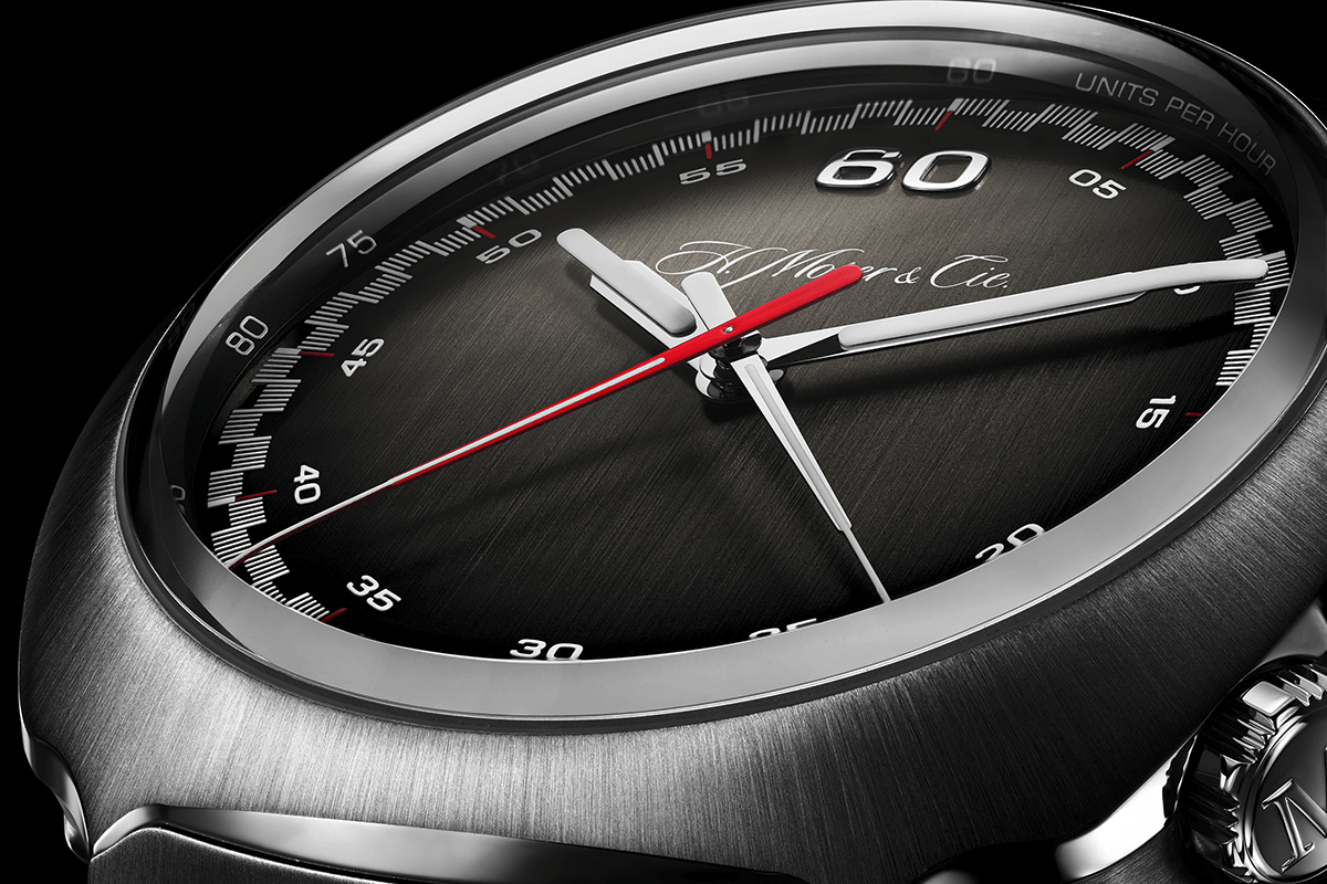 Ponteiros cronográficos dos minutos e dos segundos ao centro, em vez de nos habituais totalizadores de pequena dimensão © H. Moser & Cie
