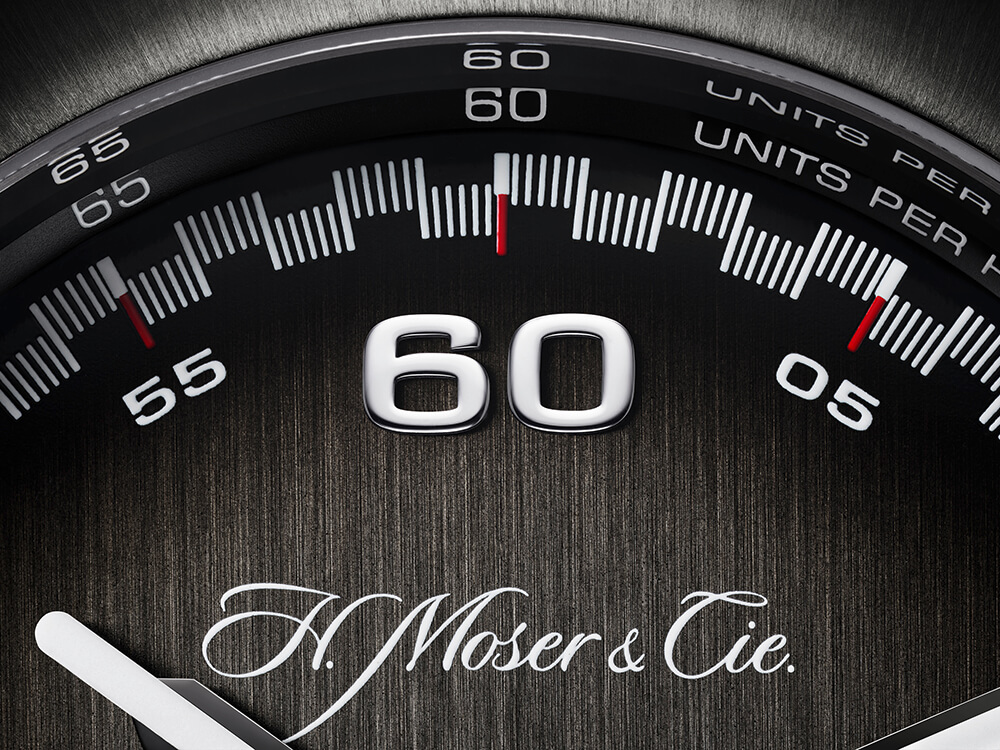 A indicação dos minutos surge em grande destaque no mostrador © H. Moser & Cie