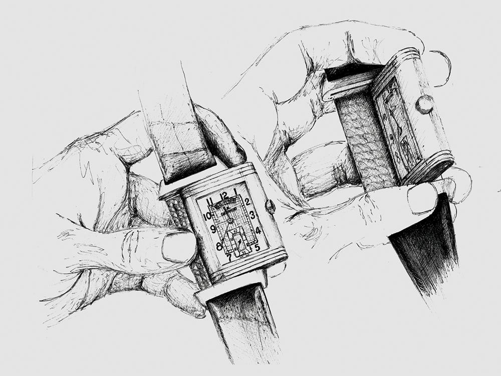 Reverso da Jaeger-LeCoultre. Ilustração: Magda Pedrosa / Espiral do Tempo