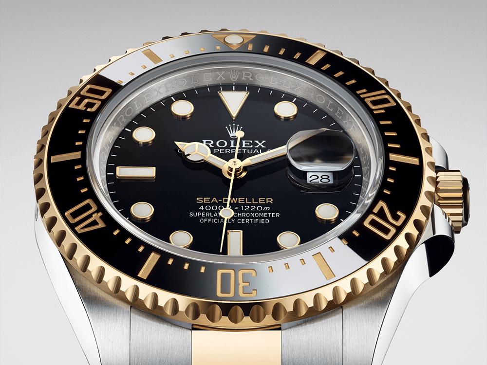 O característico ponteiro com a extremidade em forma de estrela ou 'Y' do Rolex Sea-Dweller © Rolex