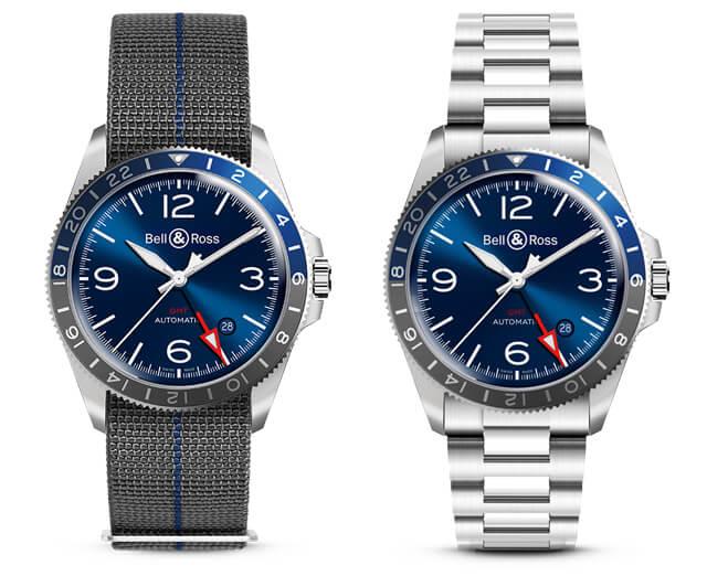 Esq.: BRV293-BLU-ST/SF (bracelete elástica); Dta.: BRV293-BLU-ST/SST (bracelete em aço). © Bell & Ross