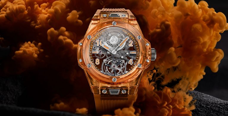Hublot Big Bang Tourbillon Automatic Orange Sapphire mostrador de frente