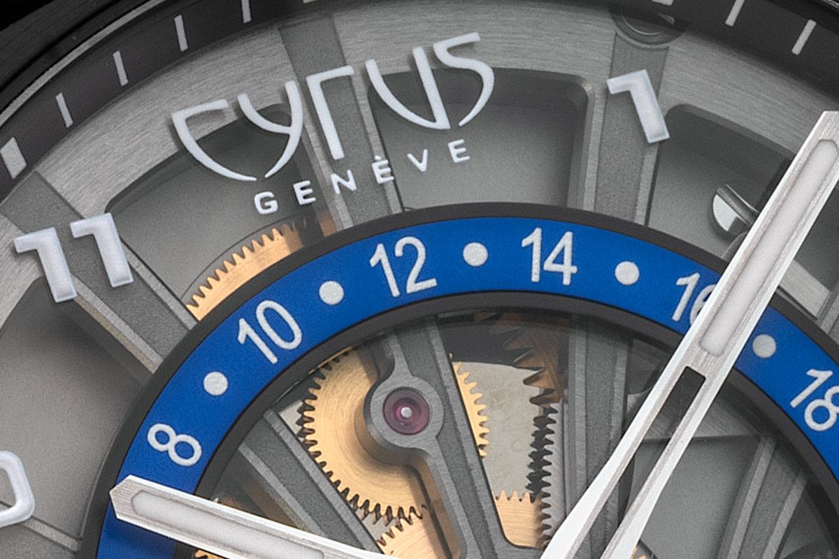 Pormenor do mostrador do Cyrus Klepcys GMT