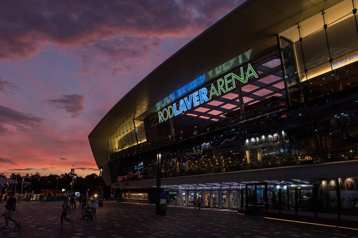 Entrada da Rod Laver Arena onde decorreu o Open Australia 2021