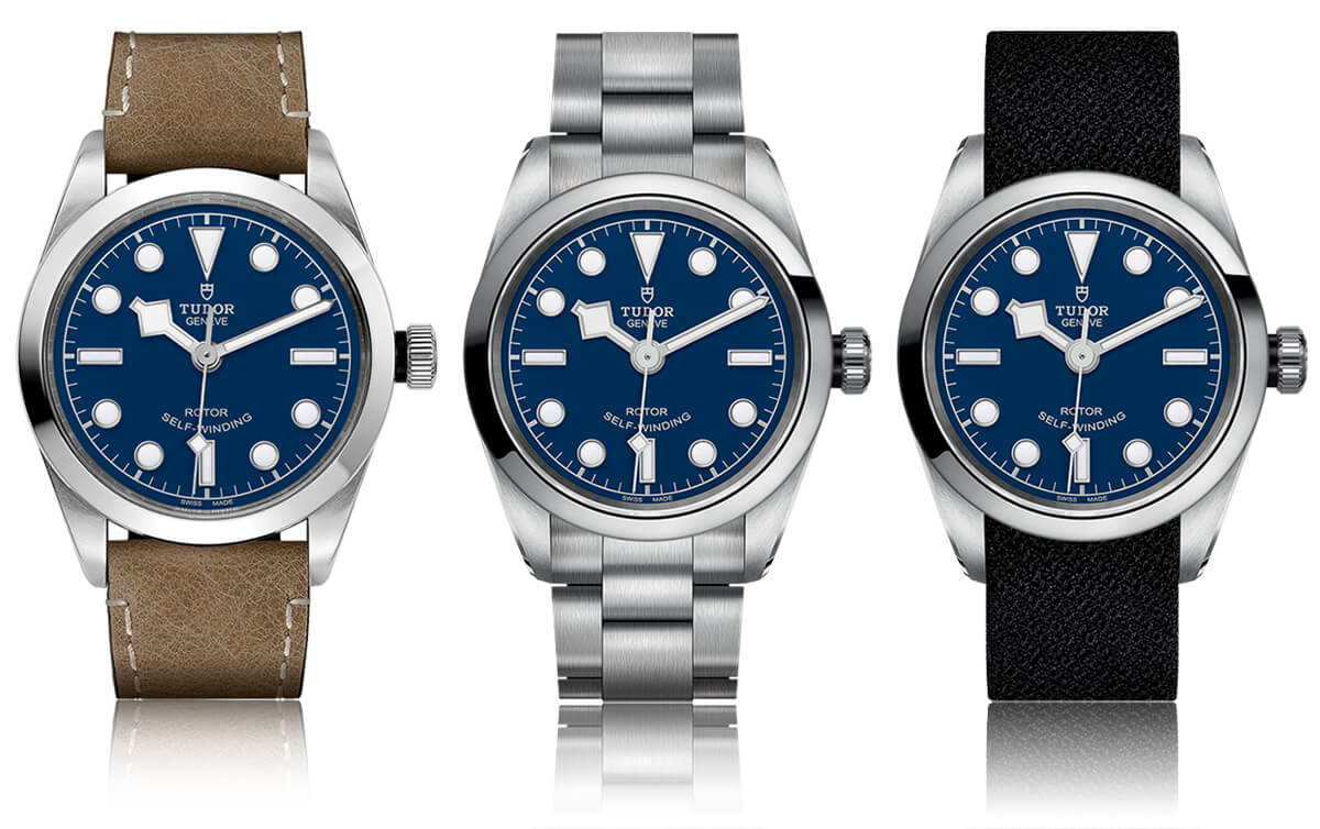 Tudor Black Bay 32 com mostrador azul, bracelete em pele, aço e em tecido preto.