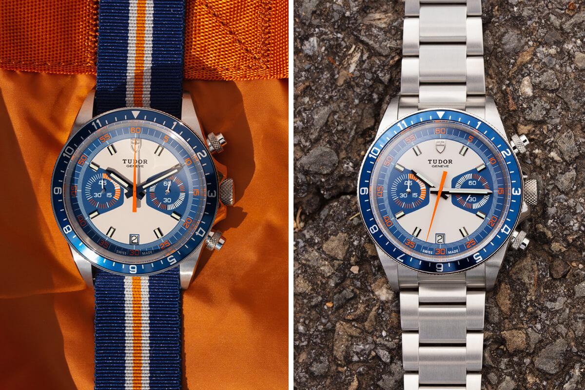 Tudor Heritage Chrono Blue com bracelete em tecido às riscas azuis, laranjas e brancas e Tudor Heritage Chrono Blue com bracelete em aço.