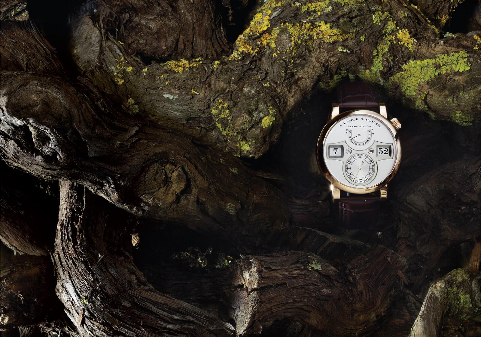 A. Lange & Söhne Zeitwerk Ref. 140.032   Ø 41,9 mm sobre fundo de troncos   © Paulo Pires / Espiral do Tempo