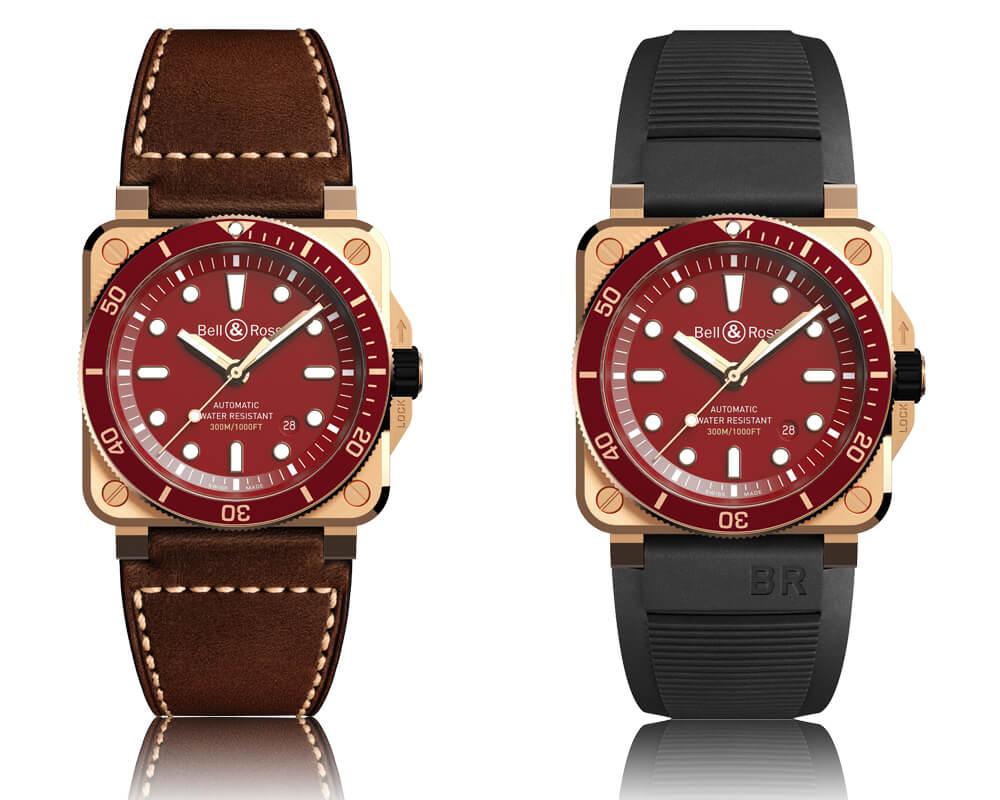Bell & Ross BR 03-92 Diver Red Bronze com mostrador vermelho e bracelete em pele e bracelete em cauchu preta.