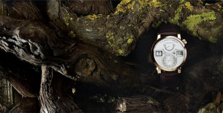 A. Lange & Söhne Zeitwerk Ref. 140.032 | Ø 41,9 mm sobre fundo de troncos | © Paulo Pires / Espiral do Tempo