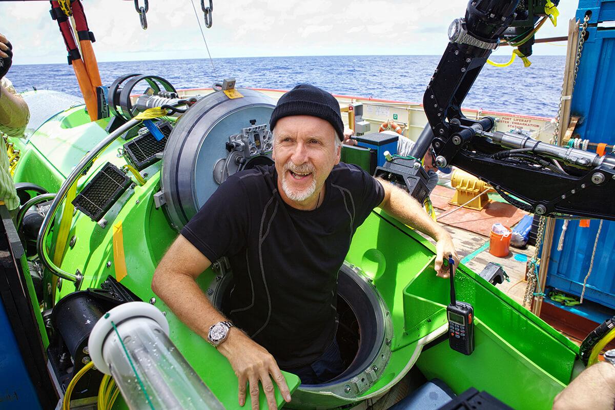 James Cameron à chegada do seu mergulho ao fundo da fossa das Marianas.