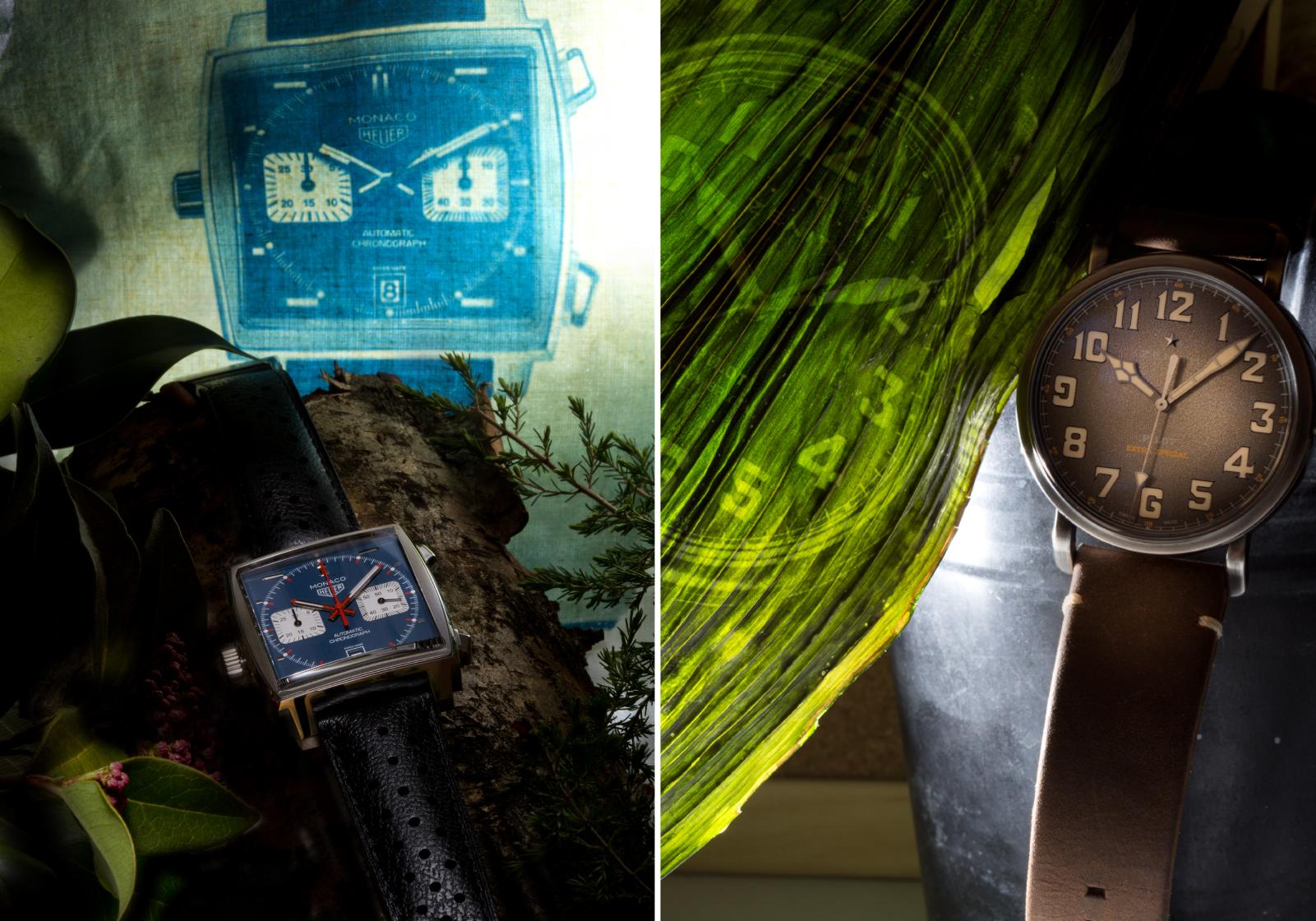 TAG Heuer Monaco Calibre 11 Automatic Chronograph Ref. CAW211P.FC6356 Corda automática   Aço   Ø 39 mm e Zenith Pilot Type 20 Ton Up Ref. 11.2430.679/21   © Paulo Pires / Espiral do Tempo