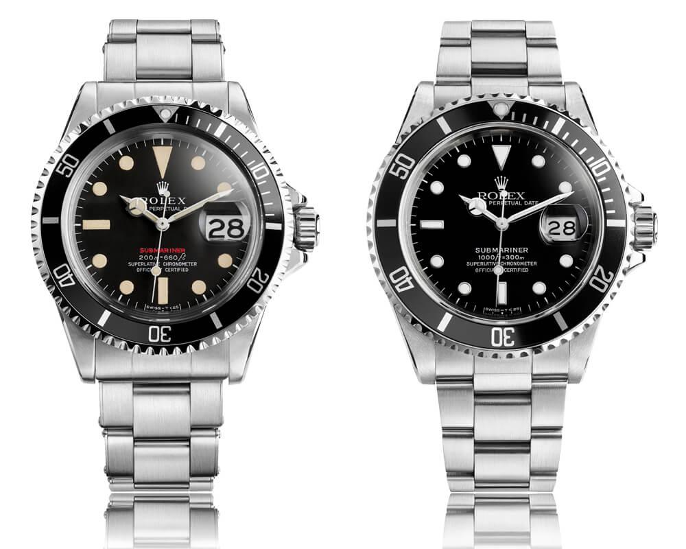 Modelos Rolex Submariner Date de 1969 e de 1984.