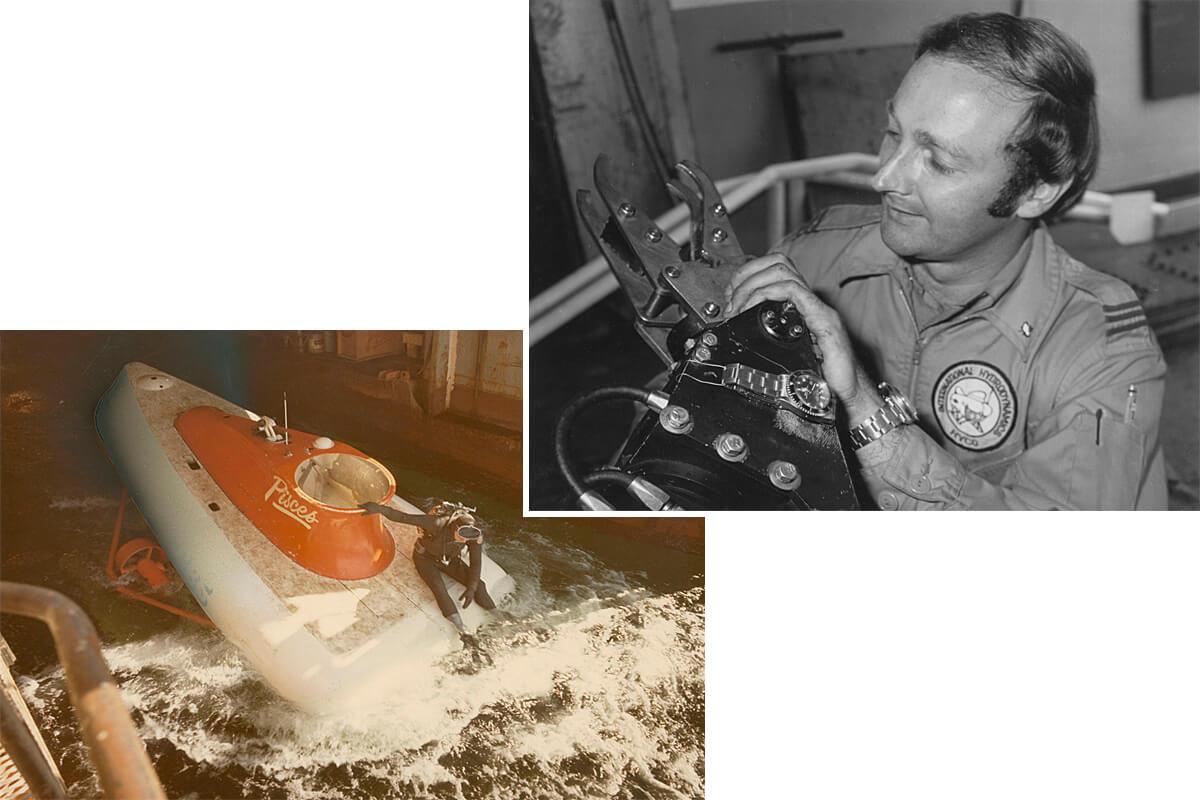 À esquerda, o lançamento do Pisces V no início dos anos 1970. À direita, os relógios Rolex são fixados no exterior dos submersíveis da HYCO, às vezes nos braços articulados
