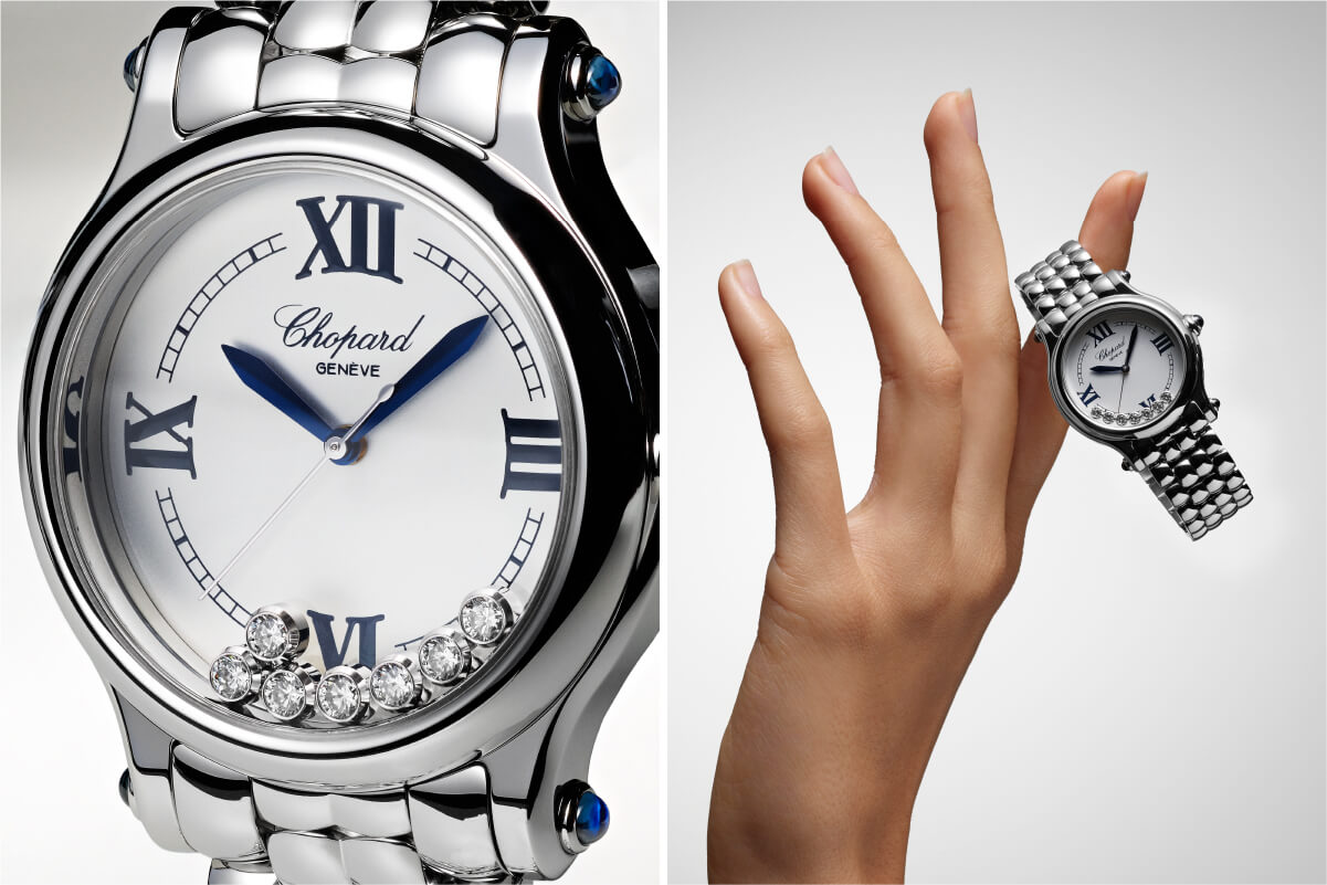 Pormenore Chopard Happy Sport the First e mão segurando o relógio nos dedos © Chopard
