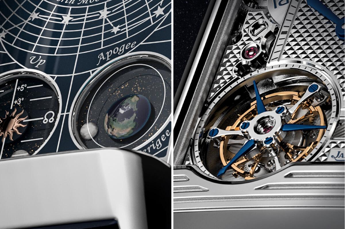 Pormenores do mostrador Jaeger LeCoultre Reverso Hybris Mechanica Calibre 185 Quadriptyque © Jaeger LeCoultre