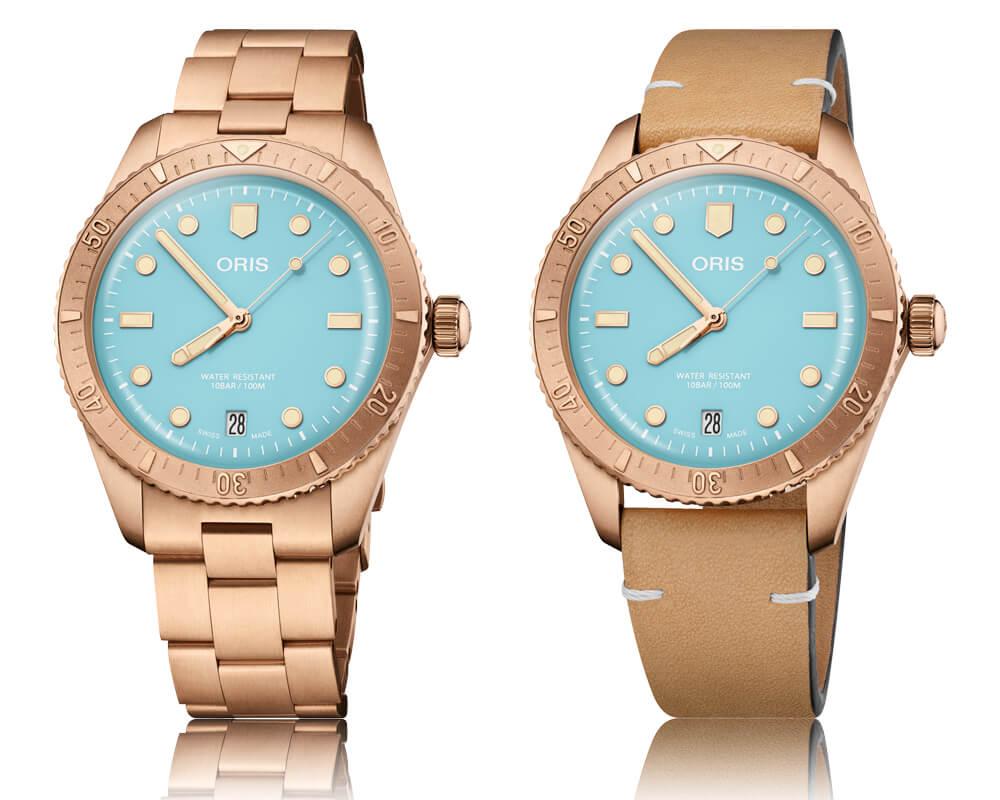 Oris divers Sixty-Five Cotton Candy com mostrador azul e bracelete em bronze ao lado da versão com mostrador azul e bracelete em pele castanho, em fundo branco