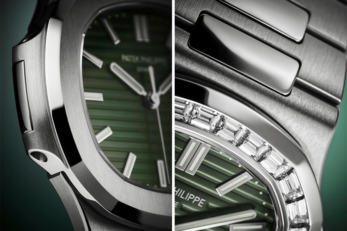 Pormenores das caixas e lunetas das duas versões com mostrador verde, Nautilus 5711 / 1A-014 e a versão com luneta cravejada de diamantes 5711 / 1300A-001
