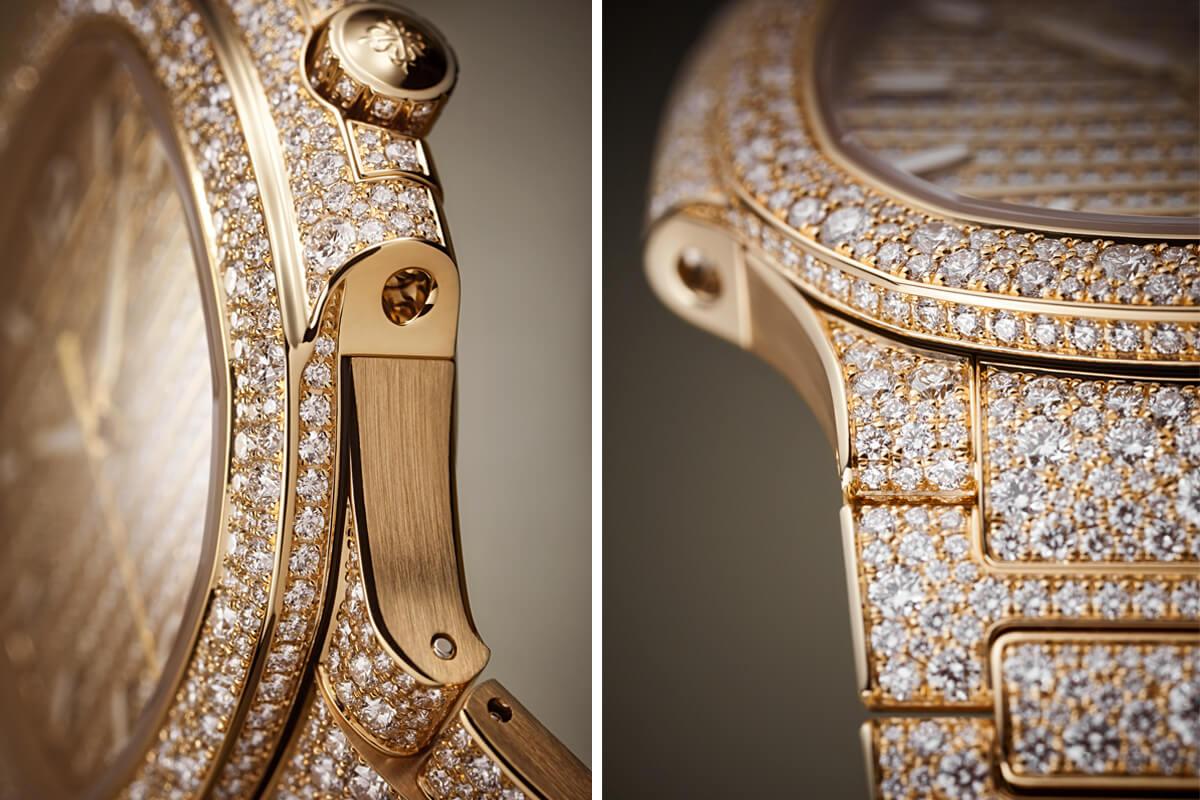 Detalhes da caixa e bracelete da exuberante nova Ref. 7118 / 1450R-001 em ouro rosa completamente cravejada de diamantes Top Wesselton.