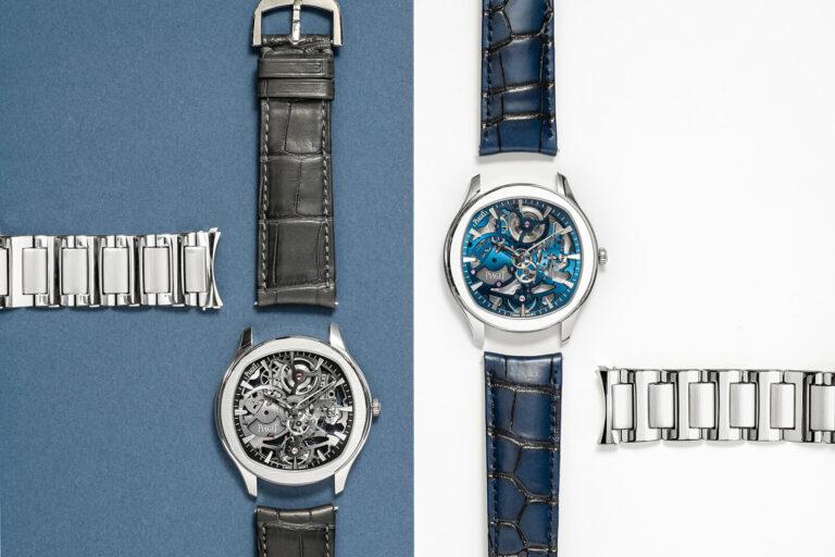 Piaget Polo Skeleton mostrador azul com bracelete em pele azul e mostrador cinzento com bracelete em aço e as suas braceletes intercambiáveis.