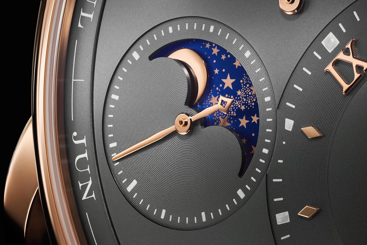 Close-up do submostrador das fases da lua do A. Lange & Söhne Lange 1 Perpetual Calendar