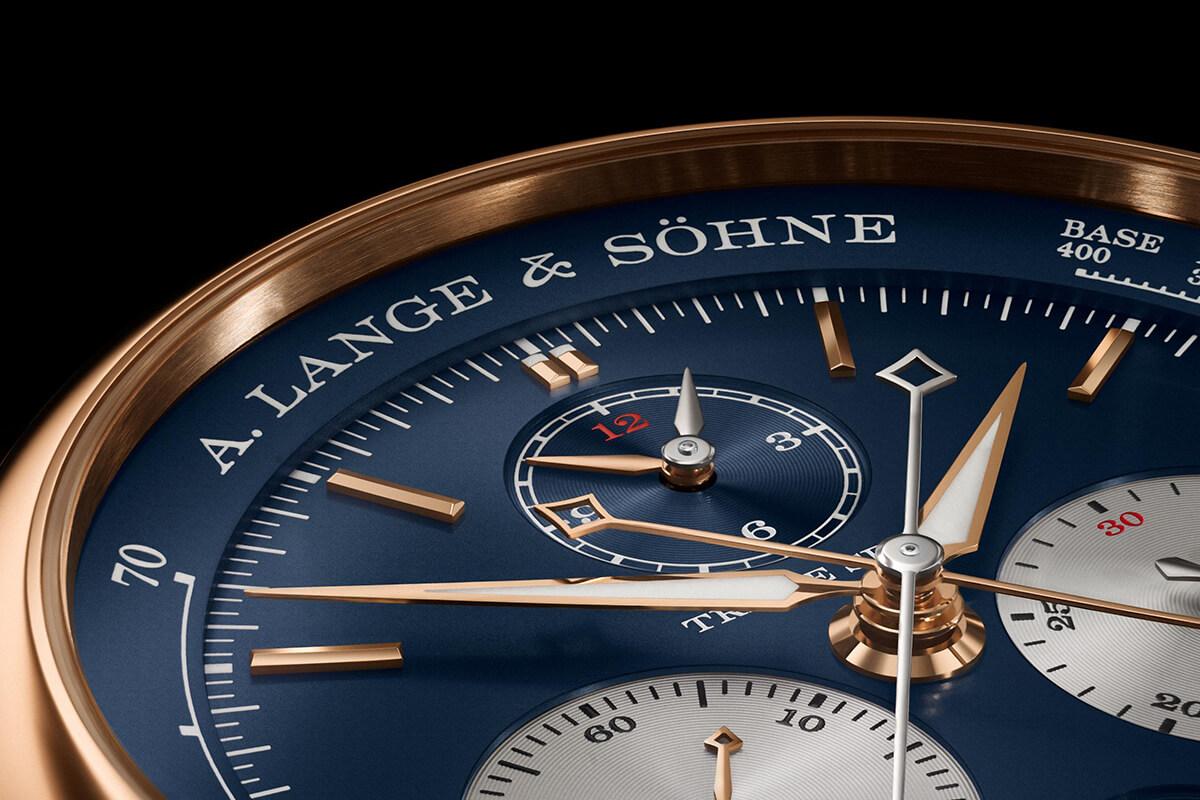 Pormenor do mostrador azul do A. Lange & Söhne Triple Split