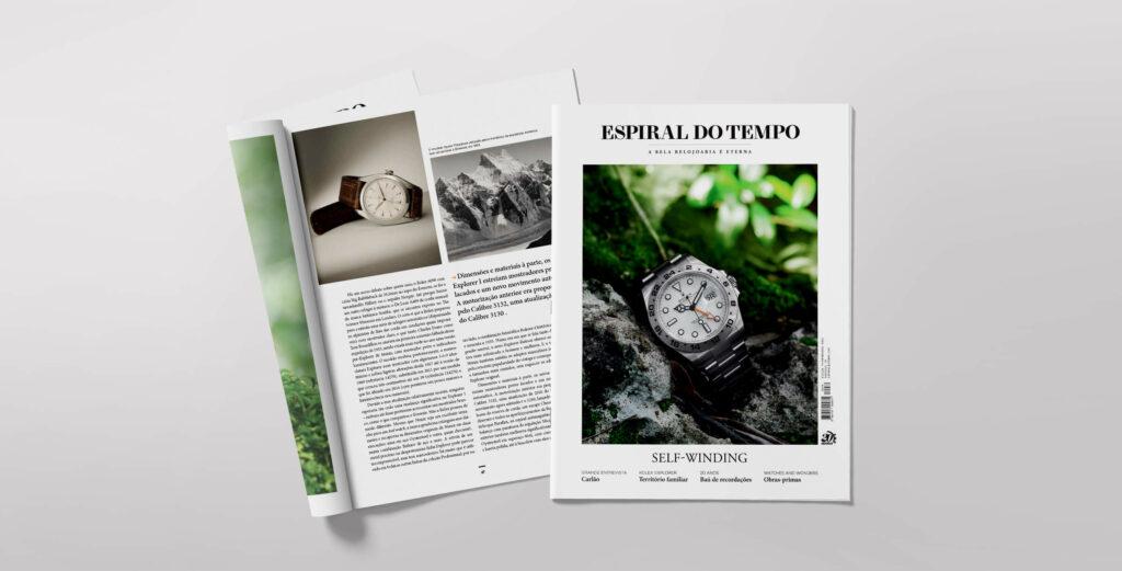 Revista Espiral do Tempo nº 74. Imagem do interior e da capa com um Rolex Explorer