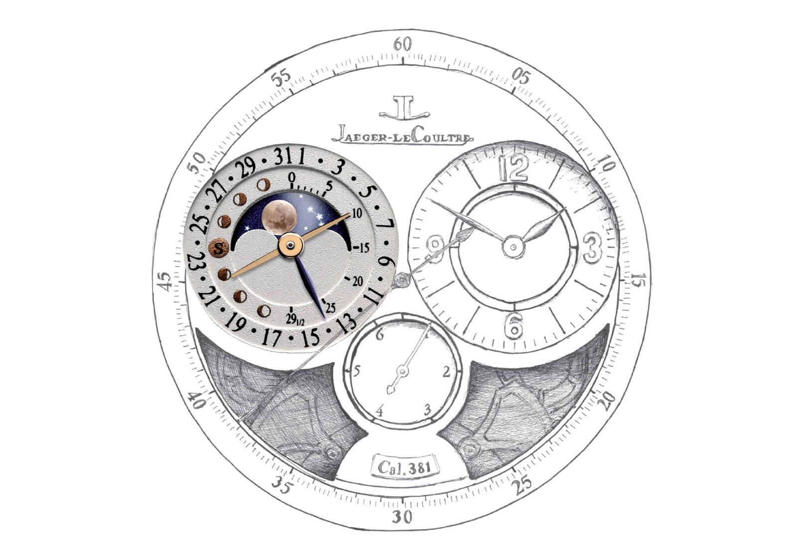 Ilustração mostrador Jaeger-LeCoultre Duomètre à Quantième Lunaire Ref. Q6042420 | © Ilustrações de Magda Pedrosa / Espiral do Tempo