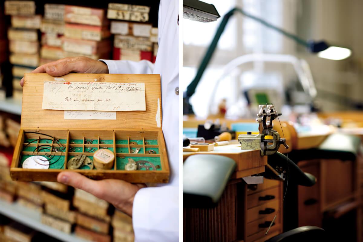 Detalhes fotografados na Manufatura Audemars Piguet a pequenas peças e às bancadas de madeira
