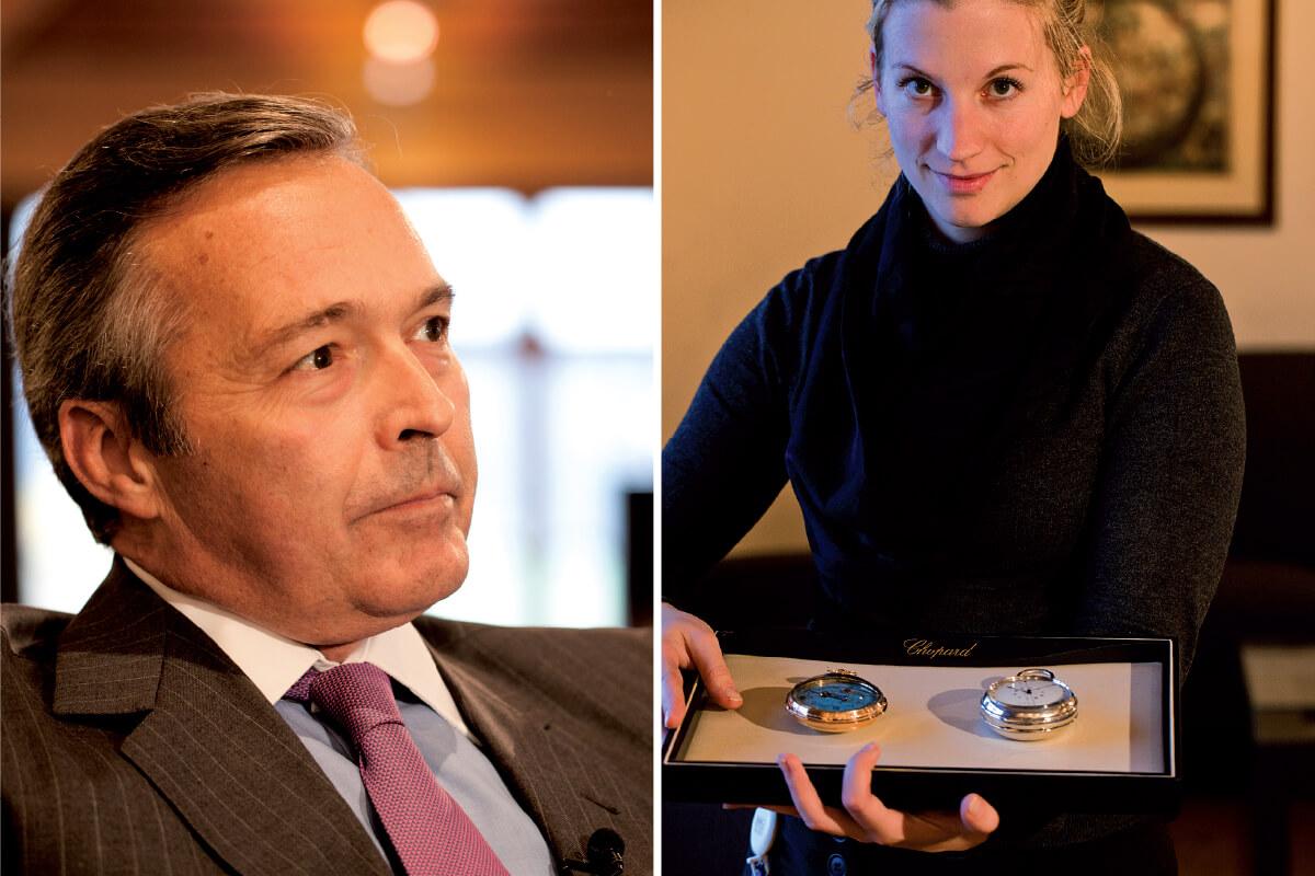 Esquerda: Karl-Friedrich Scheufele; Direita: Relógios de bolso do espólio do museu