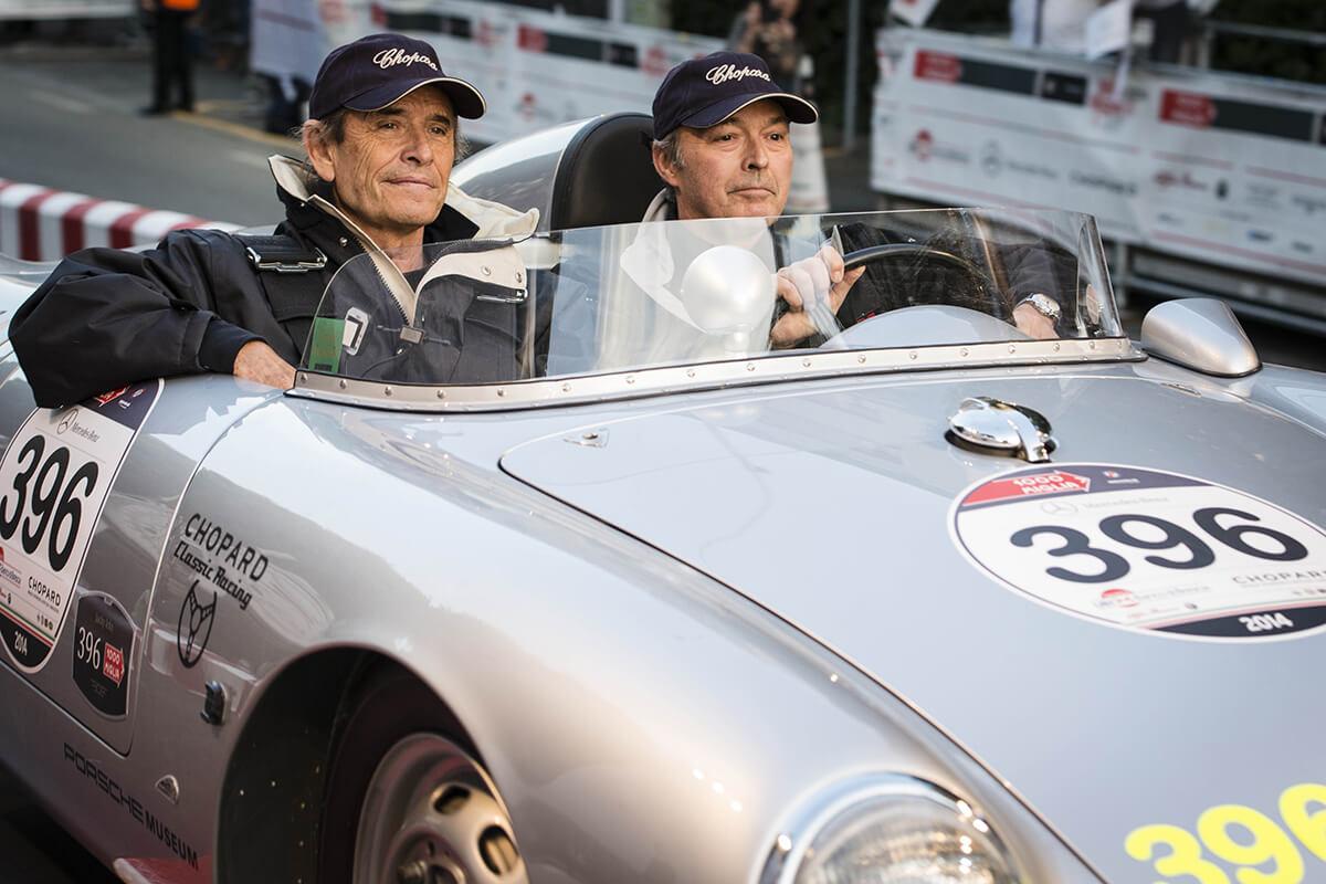 Karl-Friedrich Scheufele e Jacky Ickx na corrida Mille Miglia.