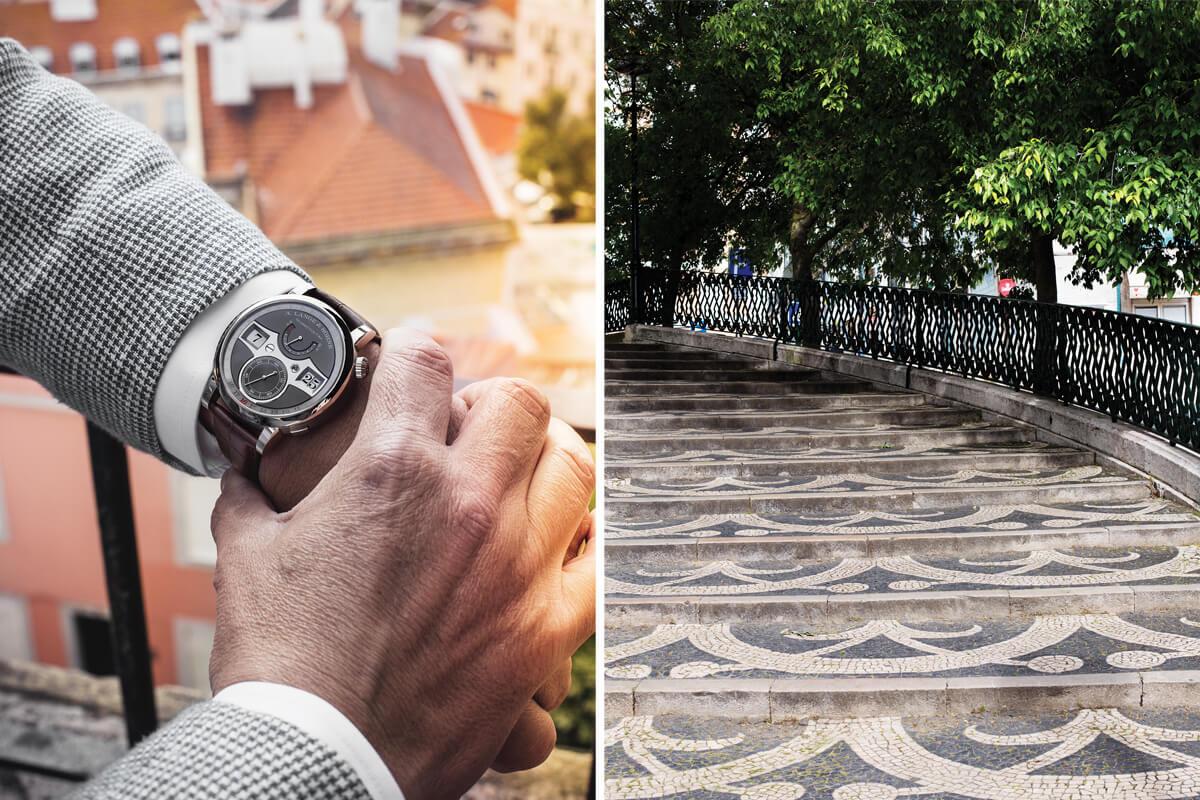 A. Lange & Söhne Zeitwerk Date num pulso masculino. | Pormenor do bairro da Graça, em Lisboa.