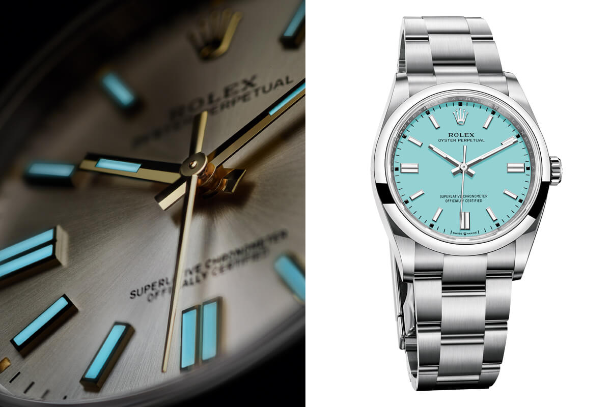 Pormenor do mostrador dos Rolex Oyster Perpetual e a versão com mostrador azul turquesa