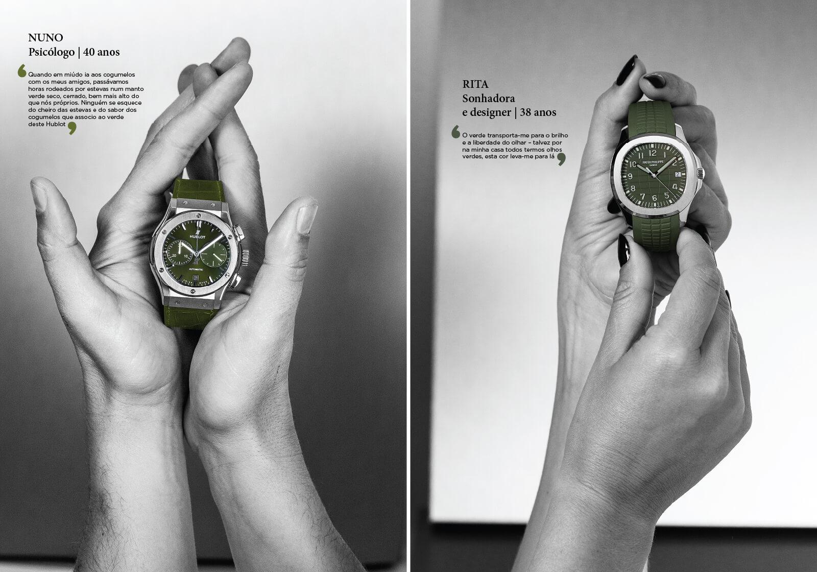 Hublot Classic Fusion Chronograph Titanium Green & Patek Philippe Aquanaut, segurados pelas mãos de homem à esquerda e de uma mulher à direita, mãos e fundo a preto e branco, relógios a cores | © Paulo Pires / Espiral do Tempo