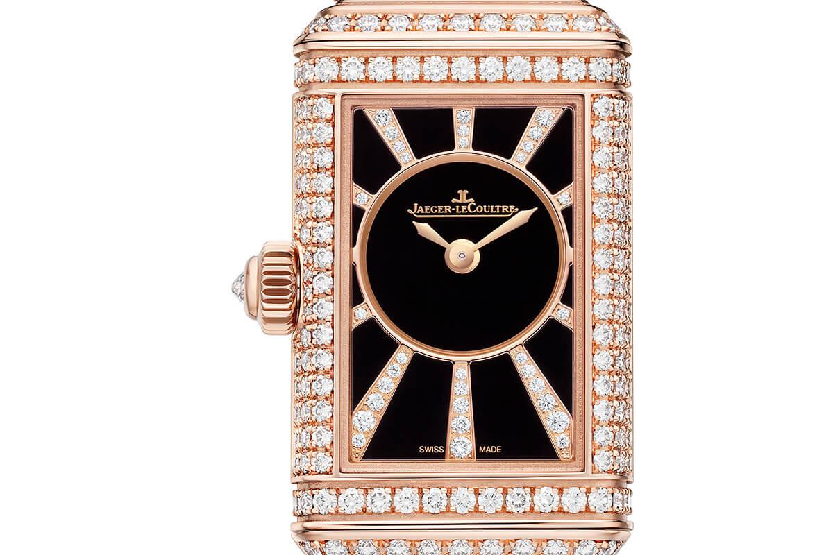 Jaeger-LeCoultre Reverso One Cordonnet Duetto Jewellery, mostrador preto com diamantes no verso.