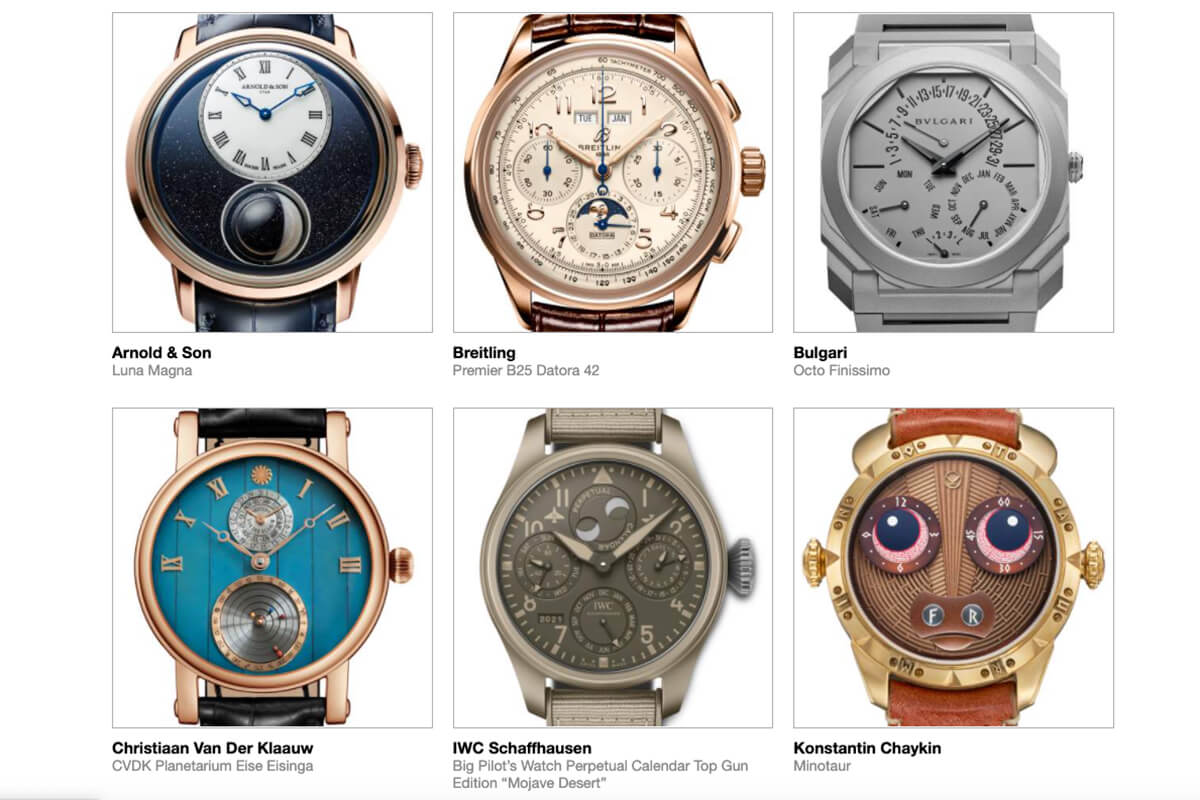 GPHG 2021 Nominated Watches: Calendar and Astronomy