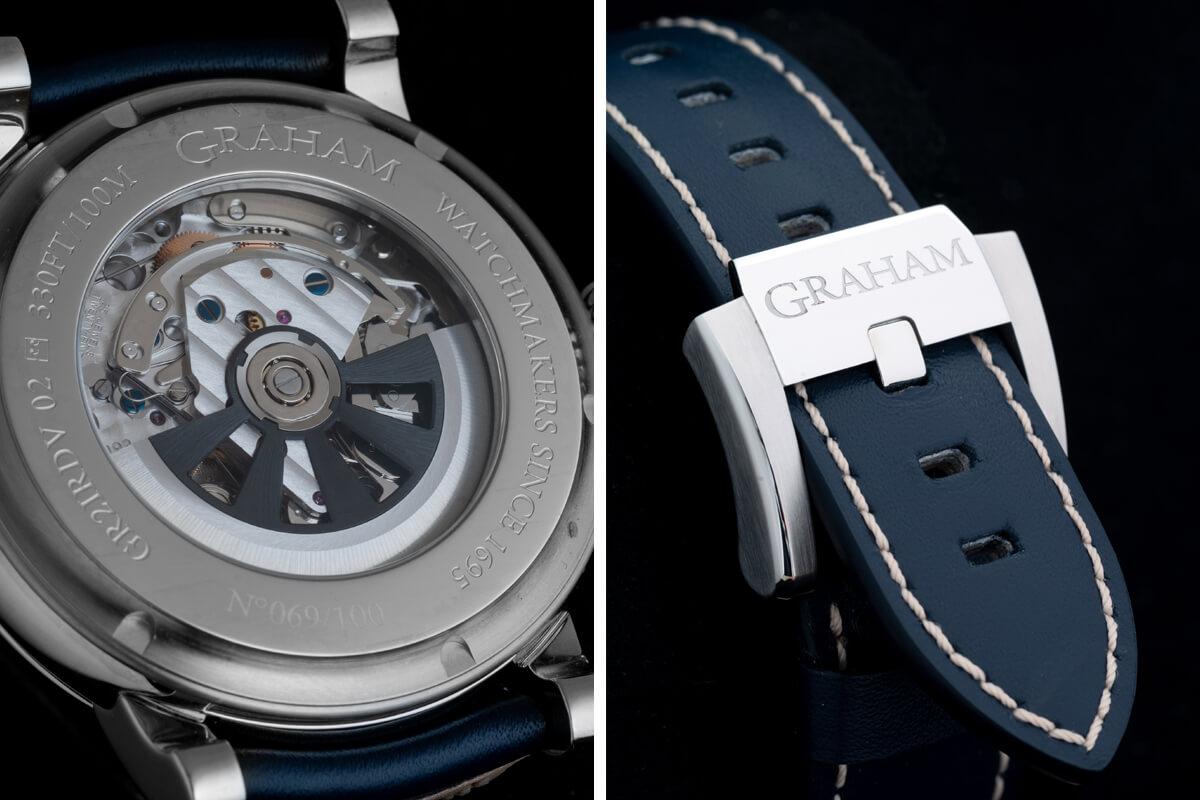 Verso de caixa e detalhe da bracelete com fivela do Graham Chronofigther Fortress Limited Edition