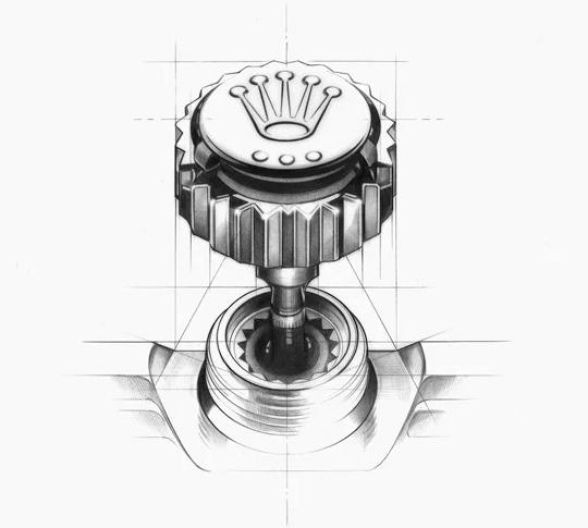Esquema do sistema triplock da Rolex